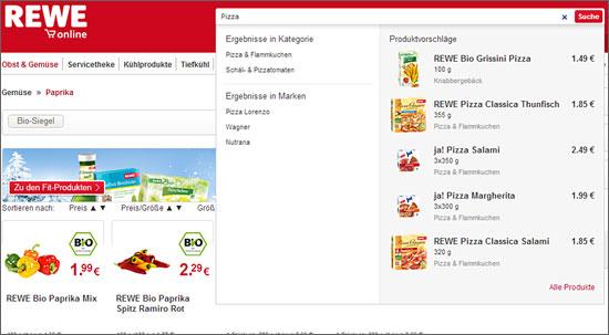 Mit der neuen Suchfunktion stellt Rewe Online den Navigationsmurks ab