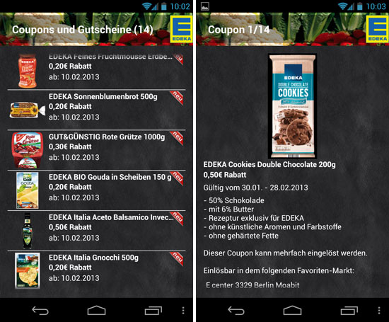Coupons in der Edeka-App