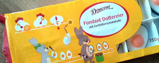 Douceur-Osterartikel mit den Hasenfabrik-Illustrationen bei Penny