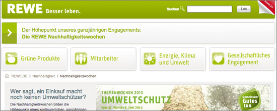 Website zur Rewe-Umweltwoche