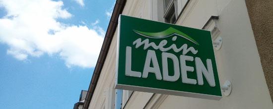 """Galeria-haftes Logo von """"Mein Laden"""" im bayerischen Amberg"""