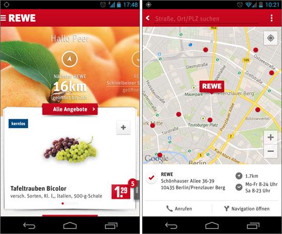 Rewes App lotst Smartphone-Besitzer zum nächsten Markt