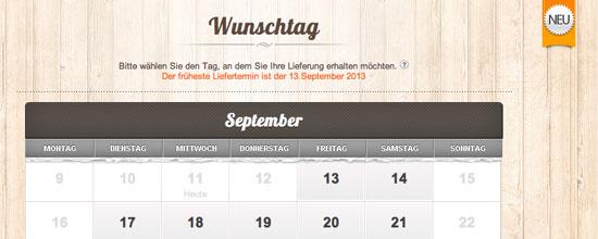 Wunschtag-Option im Bestellprozess bei Allyouneed.com