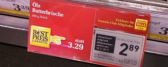 """Superpreisschild bei Billa mit """"B€st Preis Garantie"""""""