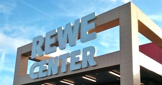 Toom heißt jetzt Rewe Center - bulliger Eingang inklusive