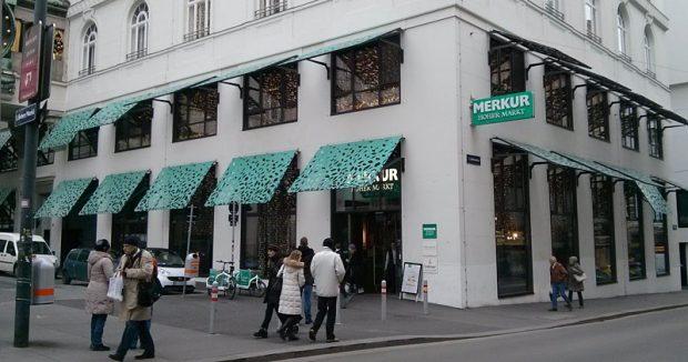 Oben Ölscheichs, unten Supermarkt: Merkur am Hohen Markt in Wien