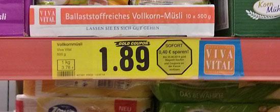 Müsli für 1,89 Euro (mit 'Gold-Coupon' weniger)