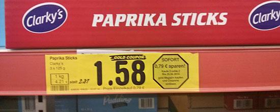 Zwei Packungen Paprika-Sticks für 1,58 Euro (mit 'Gold-Coupon' gibt's eine dazu)