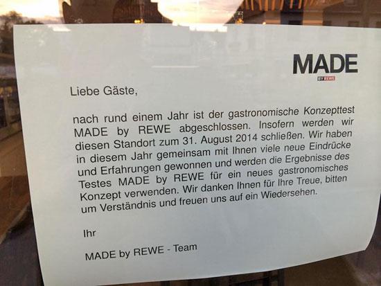 """""""Made by Rewe"""" verabschiedet sich von seinen Gästen / Foto von Thomas A. aus Köln"""