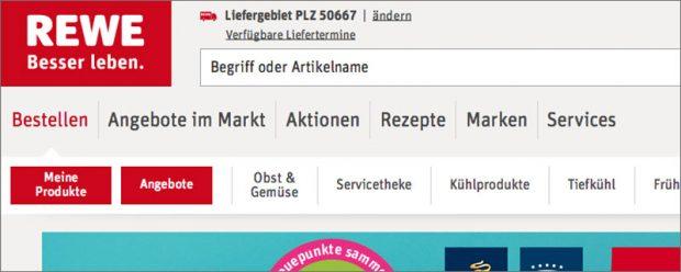 """Direkt unterm Logo fordert Rewe Kunden zum """"Bestellen"""" auf"""
