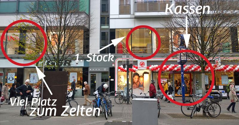 In voller Breite ließ sich die neue Rossmann-Filiale in Charlottenburg weihnachtsbudenbedingt leider nicht erfassen