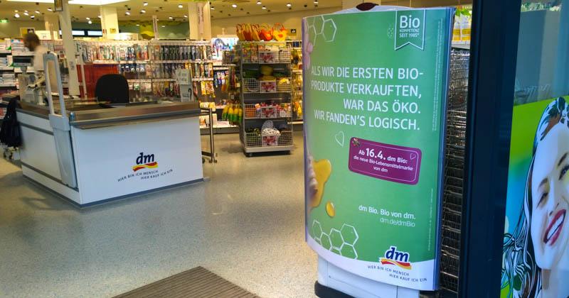 Werbung für die neue dm-Biomarke