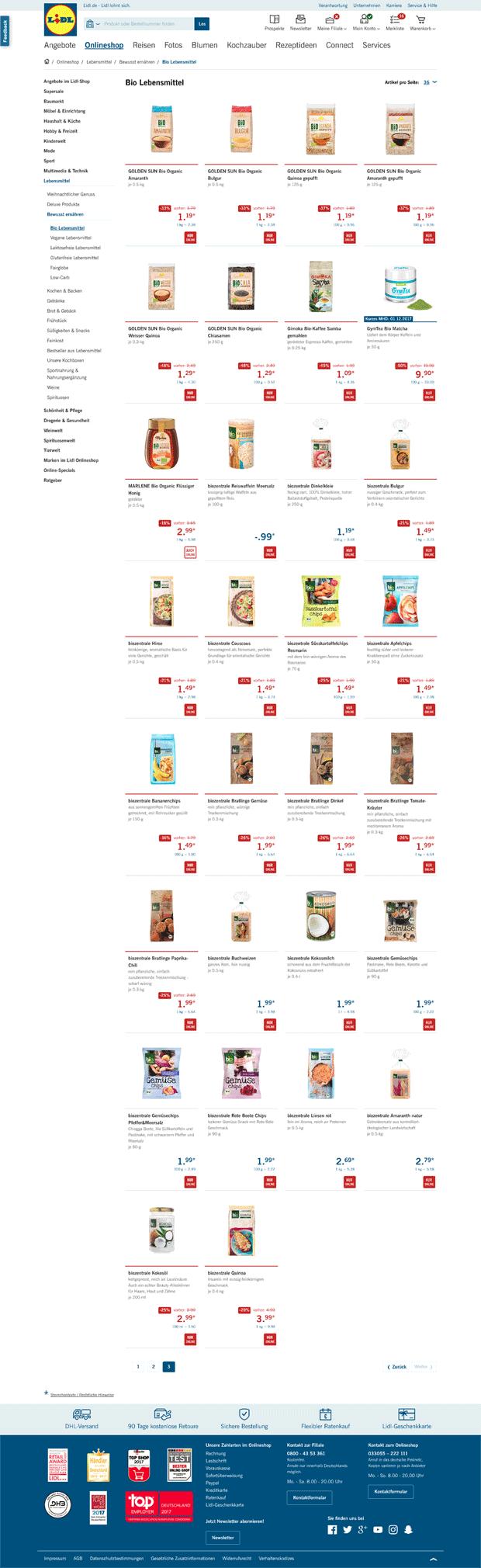 Lidl stoppt den Verkauf von Lebensmitteln im Online-Shop – und